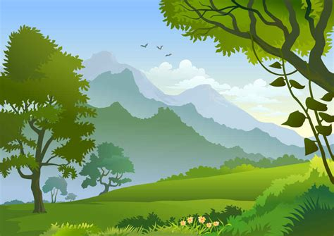wallpaper cartoon landscape forest landscape clipart