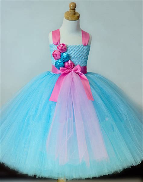 Handmade Princess Dress - pink flower big bow light bllue tutu dress
