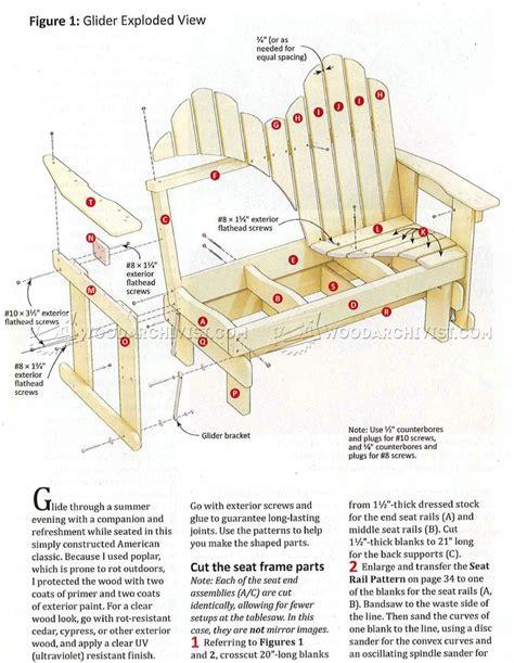 Gliding Adirondack Chair Plans by Adirondack Glider Bench Plans Woodarchivist
