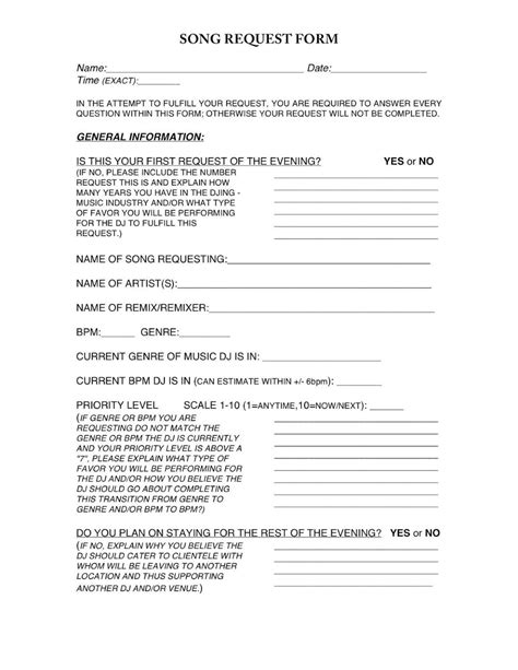 Wedding Song Request Form by Dj Song Request Form Djscirclejerk