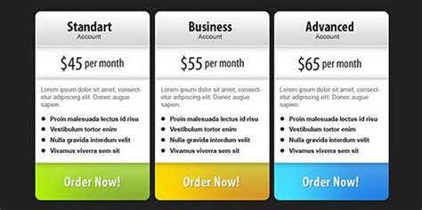download 30 free pricing table templates design css3 psd wp 15 sets of free address templates aboutcom freebies