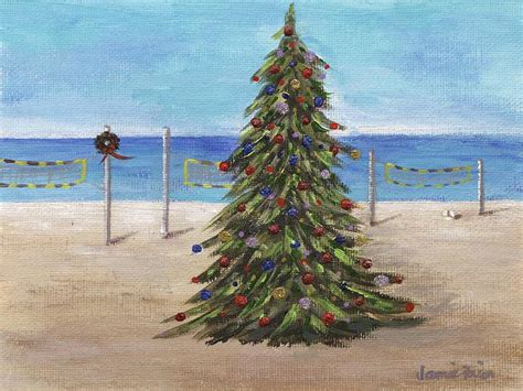 christmas tree at the beach painting by jamie frier