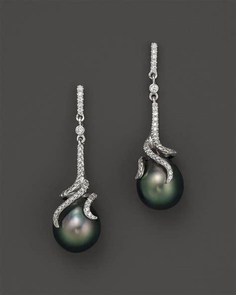 tara pearls tahitian cultured pearl drop earrings with