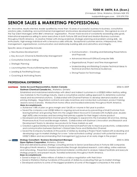 Resume Sles For Experienced Professionals In Marketing Todd W Smith Senior Sales Marketing Professional Resume