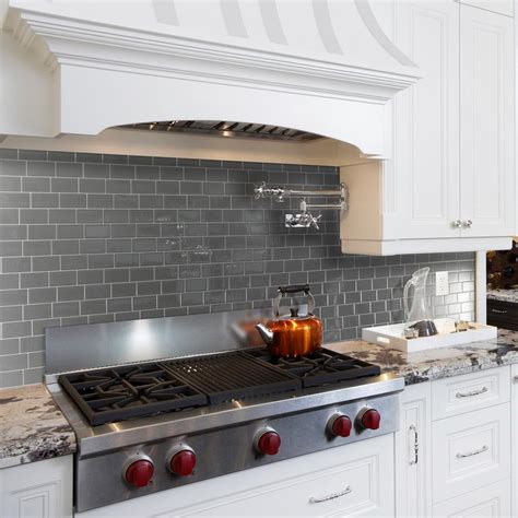 smart tiles kitchen backsplash smart tiles metro grigio approximately 3 in w x 3 in h gray decorative mosaic wall tile