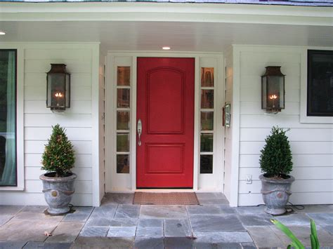 Red Front Door And Bold House Exterior Traba Homes Front Exterior Doors For Homes