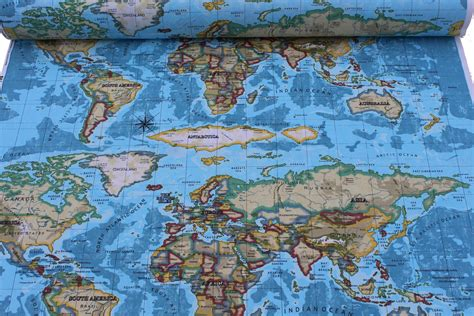 world map upholstery fabric designer cotton world atlas curtain cushion upholstery