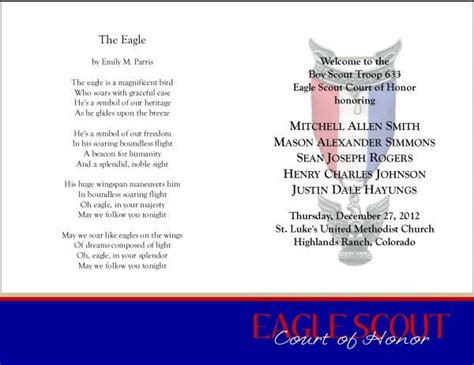 eagle scout court of honor program template 59 best bs eagle coh invites programs images on
