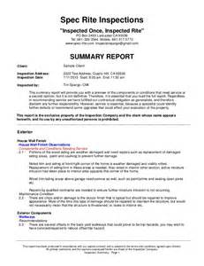 Inspection Report Writing Format by Sle Home Inspection Report
