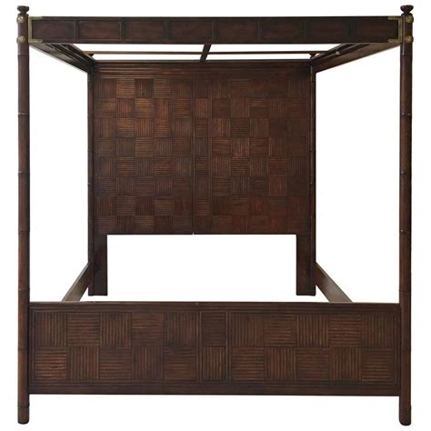 1970s henredon faux bamboo caign style canopy bed for