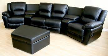 Theater Sectional Reclining Sofa Home Theater Sectional Genuinue Black Leather Recliner Chairs 4 Cupholders