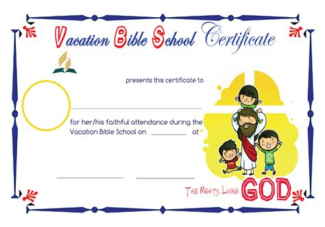 vacation bible school certificate templates 5 best images of vacation bible school certificates