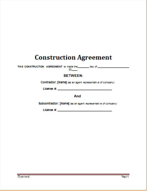 Construction Contract Template For Word Word Excel Templates Contract Template Word 2003