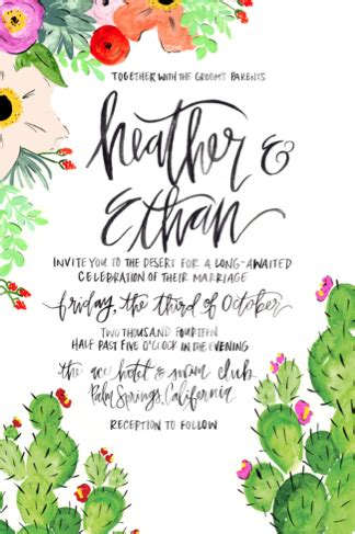 cactus invitations invites cards font design