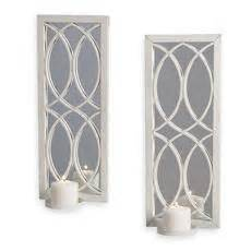 White Candle Sconces White Metal Wall Sconce With Mirror