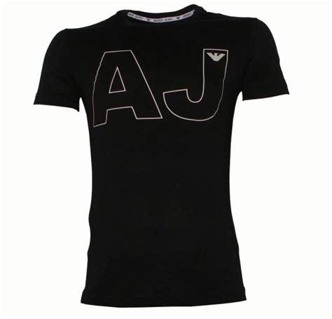 armani black t shirt with aj and eagle logo t