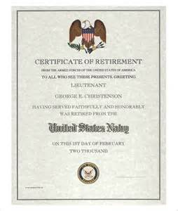 Navy Retirement Program Template by 9 Retirement Certificate Templates Free Pdf Format