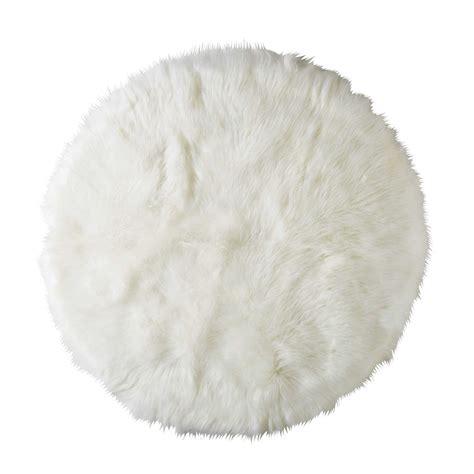 chambre fourrure tapis rond en fausse fourrure blanche d 140cm furil