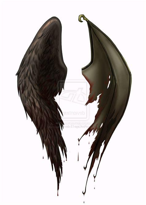 half angel half demon tattoo wings half half tattoos