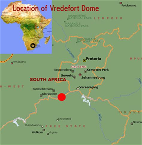 map of dome vredefort dome south africa heritage