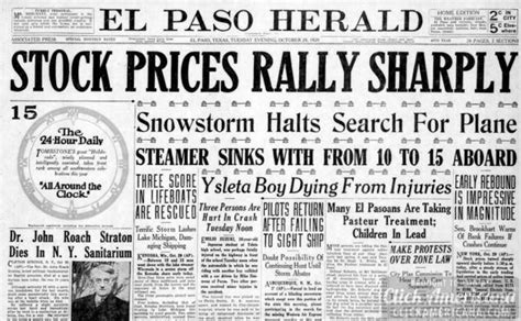 Daily Texan Newspaper Archives Oct 5 1987 the great depression newspaper headlines from the stock