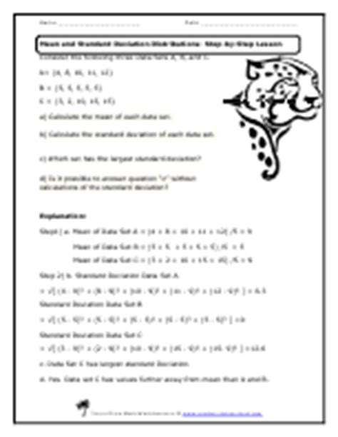 And Standard Deviation Worksheet Answers