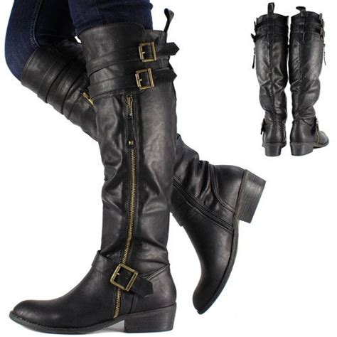 ladies biker style boots womens black knee high leather biker riding boots shoes