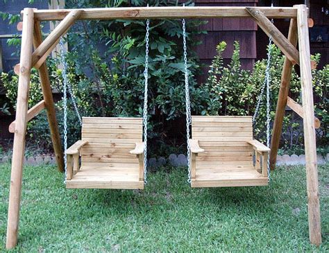 wooden swing adult cedar creek woodshop porch swing patio swing picnic