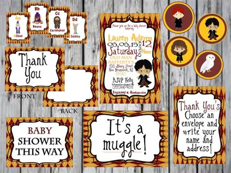 harry potter thank you card template harry potter baby shower package harry potter cupcake topper