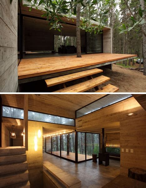 Modern Masonry Cool Concrete Cabin Warm Wood Patio Wood Patio Designs