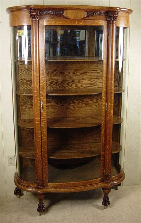 Curved Glass Oak China Cabinet