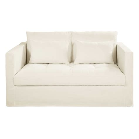 white linen sofa uk white 2 seater washed linen sofa bed basile maisons du monde