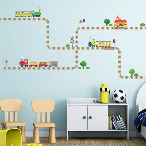 trains and tracks wall stickers