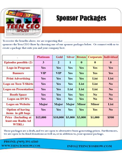 Teen Ceo Reality Show Sponsorship Proposal Free Download Sponsorship Package Template