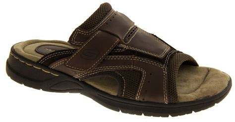 skechers sandals for mens brown skechers leather mules comfy slip on flat cool
