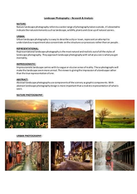 Landscape Photography Research Landscape Photography Research Analysis