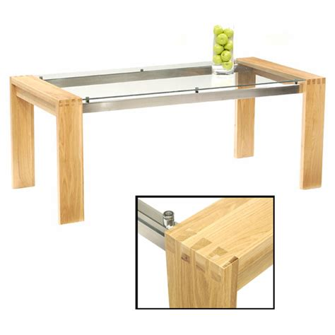 arturo 150cm oak glass top dining table only 13420