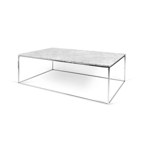 table basse metal blanc temahome table basse quot gleam quot 120cm marbre blanc m 233 tal