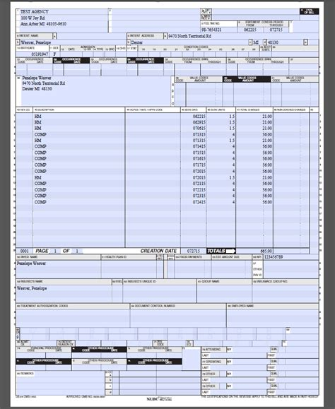 ub 04 form template ub04 template inspiration exle resume and