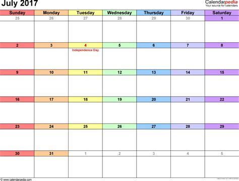 Calendar 2017 July To December Printable July 2017 Calendars For Word Excel Pdf