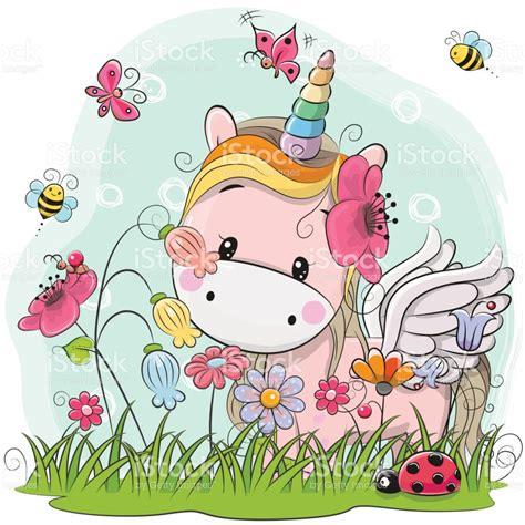 imagenes unicornios animados lindo unicornio de dibujos animados en un prado