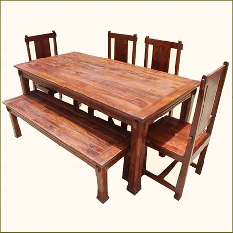 Solid Hardwood Rustic Dining Room Table Chairs Set Rustic Dining Room Set With Bench