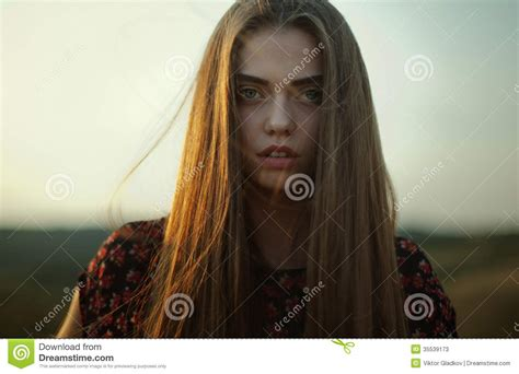 the youngest looking woman gloomy portrait of young woman stock image image of