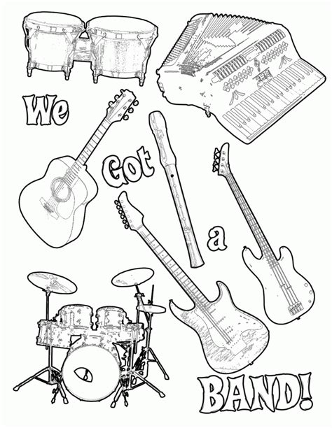 musical instrument coloring pages print out coloring home