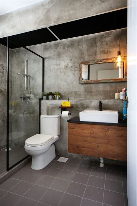cement screed wall  bathroom  industrial