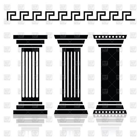html design columns silhouettes of ancient columns and greek pattern royalty