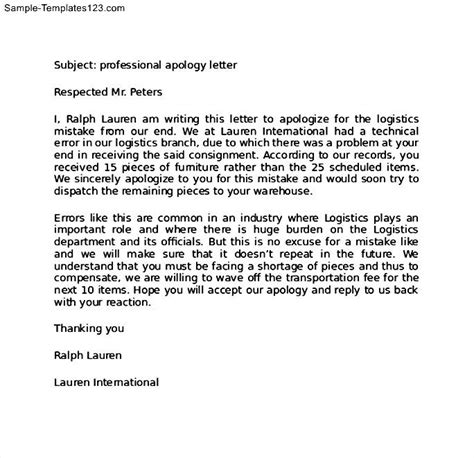 business apology letter miscommunication sample