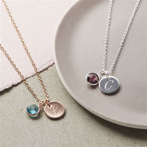 Pendant Necklace personalised initial birthstone necklace by bloom boutique