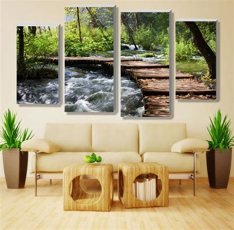 waterfalls for home decor 4pcs no frame retro waterfall definition pictures canvas