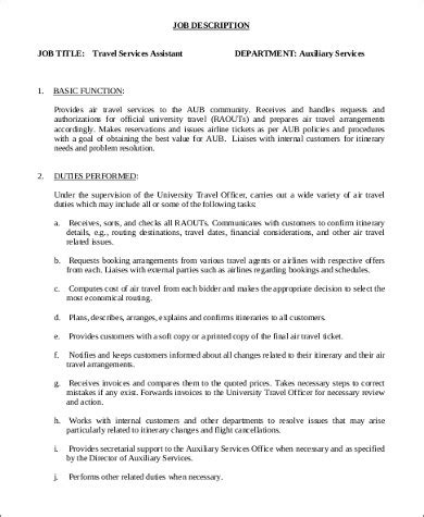 travel agent job description samples  ms word
